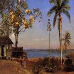 Albert Bierstadt (1830-1902)  A View in the Bahamas  Oil on paper, laid down on board  13 3/4 x 19 1/8 inches (35.24 x 48.58 cm)  Public collection